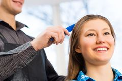 Hairdresser and client Royalty Free Stock Photo