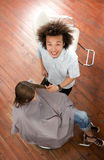 Hairdresser with client, portrait, elevated view Stock Photos