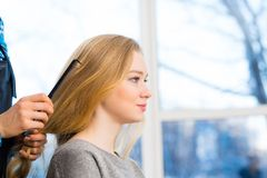 Hairdresser and client Stock Images
