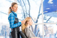 Hairdresser and client Stock Image