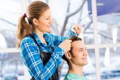 Hairdresser and client Royalty Free Stock Image