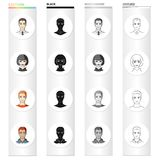 Hairdresser, clipping, coiffure and other web icon in cartoon style.Man, brown, haired icons in set collection. Royalty Free Stock Photography