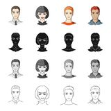 Hairdresser, clipping, coiffure and other web icon in cartoon style.Man, brown, haired icons in set collection. Royalty Free Stock Images