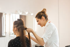 Hairdresser coiffeur makes hairstyle. Hairdresser coiffeur makes hairstyle for young woman stock photo