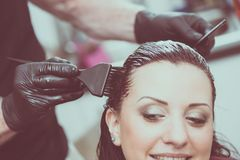 Hairdresser coloring hair Stock Photography