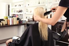 Hairdresser combing blonde`s hair. At salon Royalty Free Stock Image