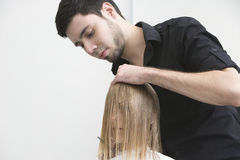 Hairdresser Combing Female Client's Hair At Parlor Stock Photos
