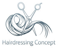 Hairdresser concept. Of a pair of hairdresser scissors cutting some hair royalty free illustration