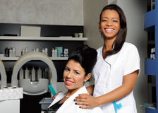 Hairdresser and customer Stock Images