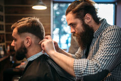 Hairdresser cutting by clipper hair of client man. Hairdresser cutting hairstyle of the client men in black salon cape, barbershop on background stock photo