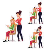 Hairdresser cutting, dying, drying hair for woman who uses smartphone. Hairdresser cutting, dying, drying hair for a woman while she uses smartphone, cartoon royalty free illustration