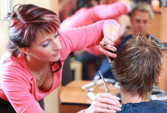 Hairdresser cutting hair Stock Photo