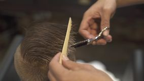 Hairdresser cutting hair with barber scissors in children hairdressing salon. Children haircut with scissors and comb in stock video