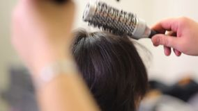 Barber Cutting Woman`s Hair. stock video footage
