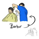 Hairdresser cutting hair of male client vector illustration sket Stock Photos