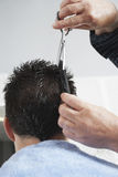 Hairdresser Cutting Man's Hair Royalty Free Stock Images