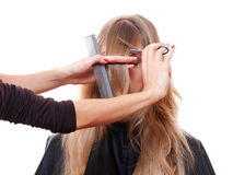 Hairdresser cutting models fringe Stock Photo