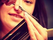 Hairdresser cutting woman dark long hair Stock Photos