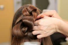 Hairdresser does an elegant hairdress Royalty Free Stock Image