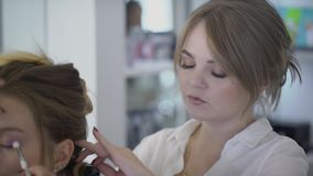 Female Hairdresser Does Hairstyle Of Sitting Lady In Beauty Salon