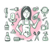 Hairdresser Doodle Profession. Hairdressing concept with cheerful woman hairdresser and hair salon accessories and supplies for web banners, hero images and vector illustration