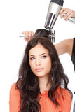 Hairdresser is drain a long black hair. Hairdresser is drain a woman's long black hair,  on white Royalty Free Stock Photography