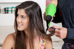 The hairdresser drys the hair one happy woman Stock Image