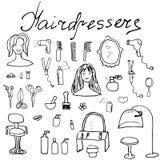 Hairdresser equipment doodles set. Hand-drawn sketch vector illustration,.  Stock Photos