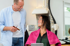 Hairdresser and female customer Royalty Free Stock Photo