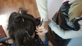 Hairdresser fixes hair on the head. With a clothespin stock footage