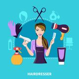 Hairdresser Flat Composition Stock Image