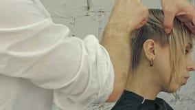 Hairdresser girl combing her hair stock video