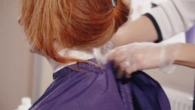 The hairdresser in gloves fastens the peignoir on the client`s neck stock video footage