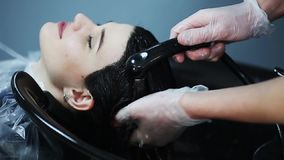 Hairdresser in gloves washing brunette girl hair over sink in beauty shop. stock footage