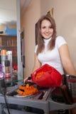 Hairdresser in hair salon Stock Images