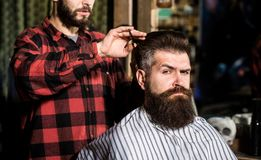 Hairdresser, hair salon. Bearded man. Barber scissors, barber shop. Vintage barbershop, shaving. Man hairstylist. Beard royalty free stock image