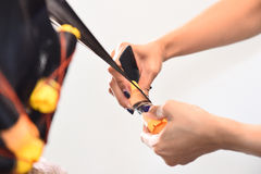 Hairdresser - hair stylist curling hairs Royalty Free Stock Image