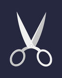 Hairdresser handle shape line work, art scissors separation salon open barber equipment and design symbol tailor object. Hairdresser handle shape line work art Stock Images