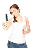 Hairdresser holding a  scissors and comb isolated on white (focu Stock Photos