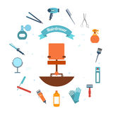 Hairdresser icon flat. Hairdresser decorative set with beauty haircut accessories and equipment with hairstylist chair in the middle vector illustration Royalty Free Stock Image