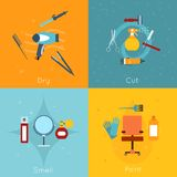 Hairdresser icon set flat. Hairdresser flat icon set with dry cut smell paint tools isolated vector illustration Royalty Free Stock Photography