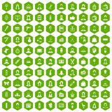100 hairdresser icons hexagon green. 100 hairdresser icons set in green hexagon isolated vector illustration stock illustration
