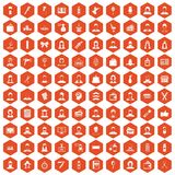100 hairdresser icons hexagon orange. 100 hairdresser icons set in orange hexagon isolated vector illustration vector illustration