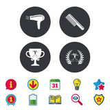 Hairdresser icons. Scissors cut hair symbol. Comb hair with hairdryer symbol. Barbershop laurel wreath winner award. Calendar, Information and Download signs stock illustration