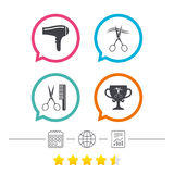 Hairdresser icons. Scissors cut hair symbol. Comb hair with hairdryer symbol. Barbershop winner award cup. Calendar, internet globe and report linear icons stock illustration