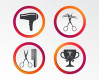 Hairdresser icons. Scissors cut hair symbol. Comb hair with hairdryer symbol. Barbershop winner award cup. Infographic design buttons. Circle templates. Vector stock illustration
