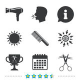Hairdresser icons. Scissors cut hair symbol. Comb hair with hairdryer symbol. Barbershop winner award cup. Information, go to web and calendar icons. Sun and royalty free illustration