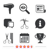 Hairdresser icons. Scissors cut hair symbol. Comb hair with hairdryer symbol. Barbershop winner award cup. Newspaper, information and calendar icons vector illustration