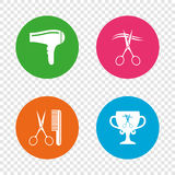 Hairdresser icons. Scissors cut hair symbol. Comb hair with hairdryer symbol. Barbershop winner award cup. Round buttons on transparent background. Vector royalty free illustration