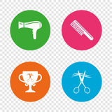 Hairdresser icons. Scissors cut hair symbol. Comb hair with hairdryer symbol. Barbershop winner award cup. Round buttons on transparent background. Vector vector illustration